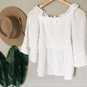 Zara Smocked Ruffle White Top